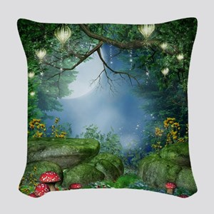 Enchanted Summer Night Woven Throw Pillow