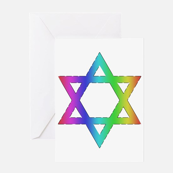 Gay Pride Star of David Greeting Card