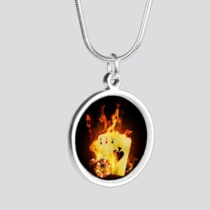 Burning Poker Silver Round Necklace