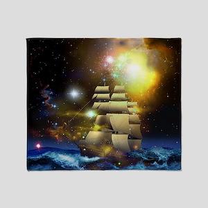 Sail Ship Universe Throw Blanket