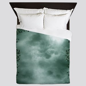 Mystic Green Moonlight Queen Duvet