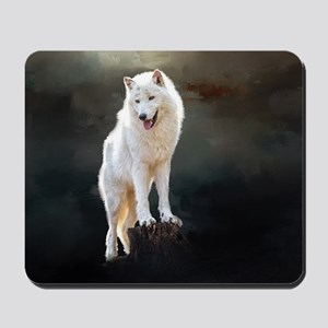 Arctic wolf Mousepad