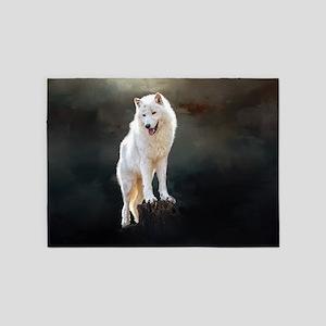 Arctic wolf 5'x7'Area Rug