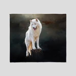 Arctic wolf Throw Blanket