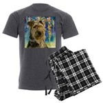 Airedale Painting Men's Charcoal Pajamas