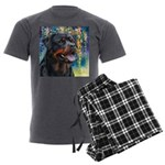 Rottweiler Painting Men's Charcoal Pajamas