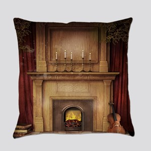 Classic Fireplace Everyday Pillow