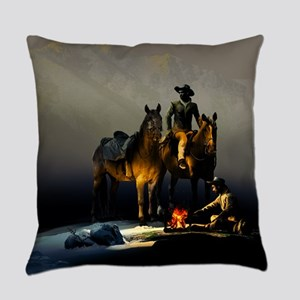 Cowboys and Horses Everyday Pillow