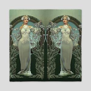 Art Nouveau White Lady Queen Duvet