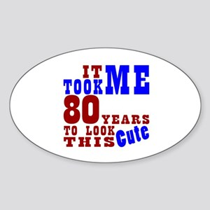 80 Cute Birthday Sticker (Oval)