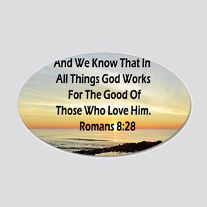 ROMANS 8:28 20x12 Oval Wall Decal