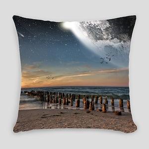 Supermoon Beach Everyday Pillow