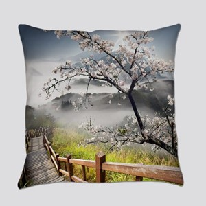 Japanese Cherry Landscape Everyday Pillow