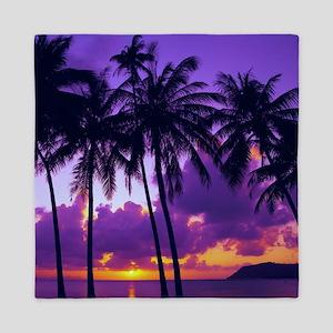 Purple Tropical Sunset 3 Queen Duvet