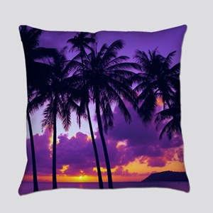 Purple Tropical Sunset 3 Everyday Pillow