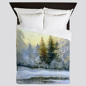 Beautiful Winter Painting Queen Duvet