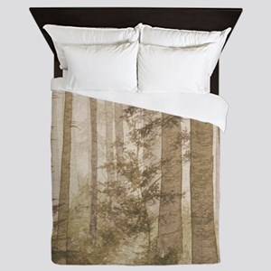 Brown Misty Forest Queen Duvet