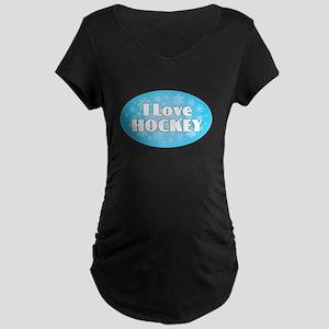 I Love Hockey - Snowflakes Maternity T-Shirt
