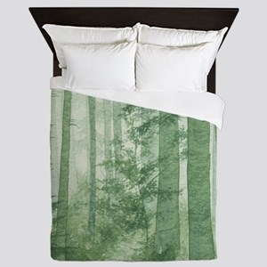 Green Misty Forest Queen Duvet