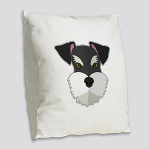 Cartoon Schnauzer Burlap Throw Pillow