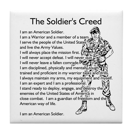 the soldiers creed tile coaster by lovethetroops