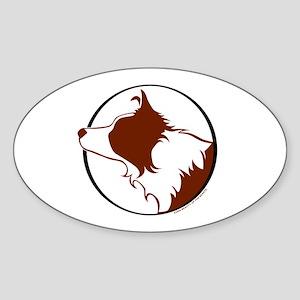 Border Collie Head R&W Oval Sticker