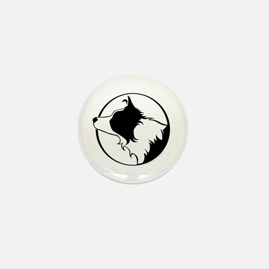 Border Collie Head B&W Mini Button