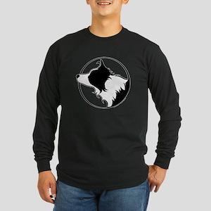 Border Collie Head B&W Long Sleeve Dark T-Shirt