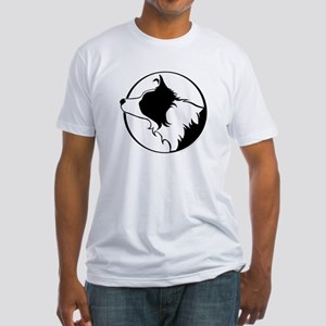 Border Collie Head B&W Fitted T-Shirt