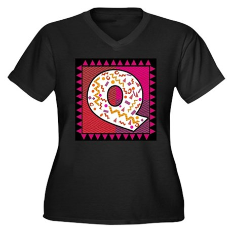 The Letter Q Women's Plus Size V-Neck Dark T-Shirt
