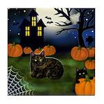 TORTOISESHELL CAT HALLOWEEN NIGHT Tile Coaster