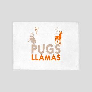 Adorable Keep Calm Love Pugs And Ll 5'x7'Area Rug