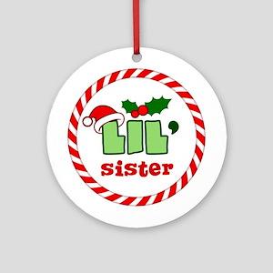 Little Sister Festive Christmas Ornament (Round)
