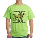 Everything my dog says Green T-Shirt
