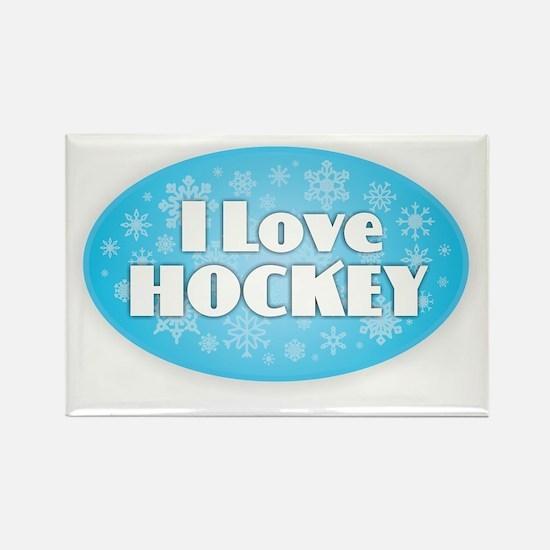I Love Hockey - Snowflakes Magnets
