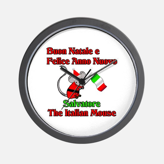 Salvatore the Italian Christmas Mouse Wall Clock
