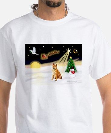 Night Flight/Shiba Inu #7 White T-Shirt