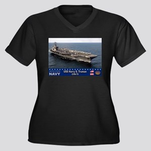 USS Harry S. Truman CVN-75 Women's Plus Size V-Nec