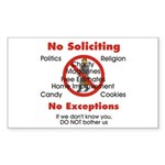 No Soliciting Rectangle Sticker #1
