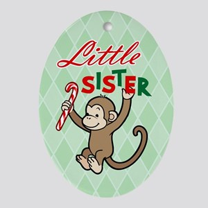 Little Sister Christmas Monkey Oval Ornament