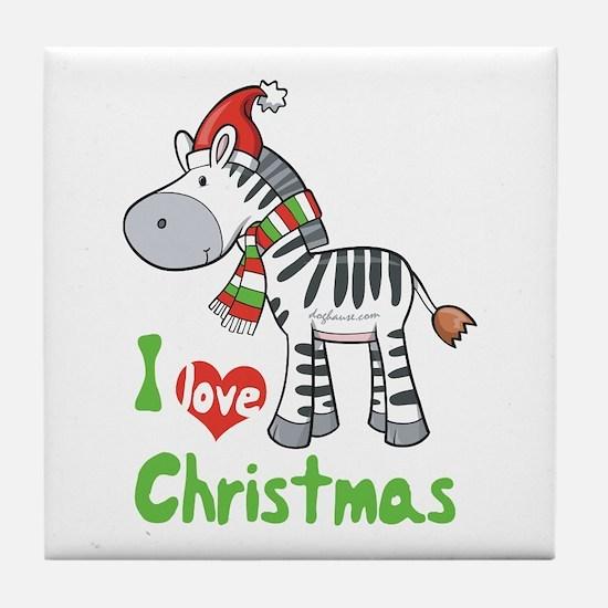 I Love Christmas Zebra Tile Coaster