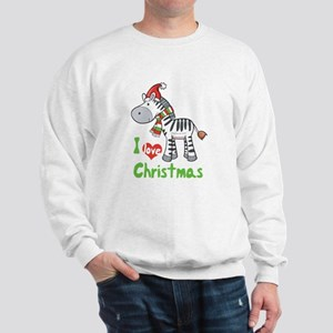 I Love Christmas Zebra Sweatshirt