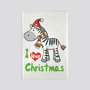 I Love Christmas Zebra Rectangle Magnet