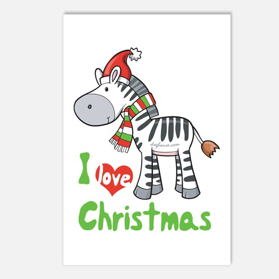 I Love Christmas Zebra Postcards (Package of 8)