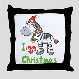 I Love Christmas Zebra Throw Pillow