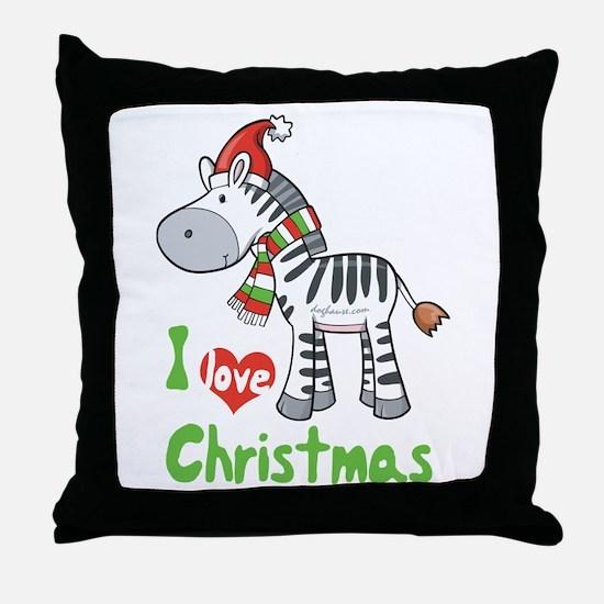 I Love Christmas Zebra Throw Pillow