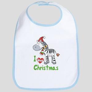 I Love Christmas Zebra Bib
