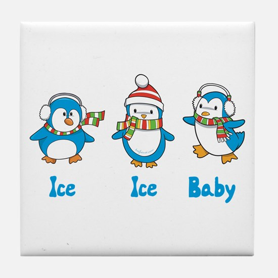 Ice Ice Baby Penguins Tile Coaster