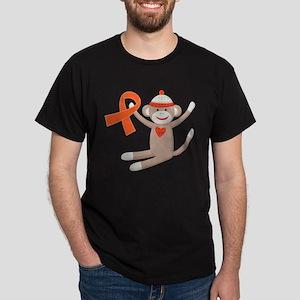 Orange Ribbon Sock Monkey White T-Shirt