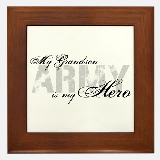 Grandson is my Hero ARMY Framed Tile
